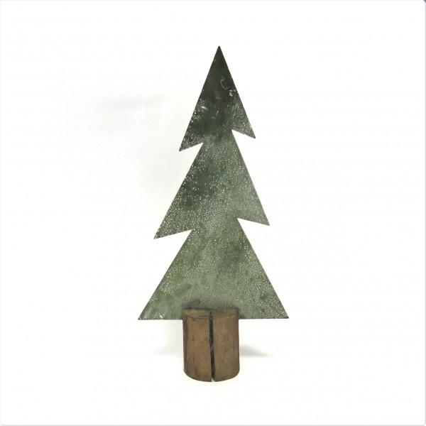Tannenbaum Weihnachten Deko Baum Metall Zink Holz Grün Tischdeko 36 cm